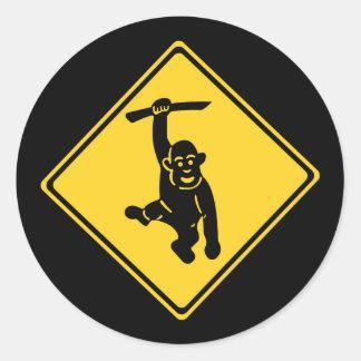 Caution Monkeys, Traffic Sign, Taiwan Classic Round Sticker