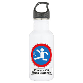 Caution Playing Children, Traffic Sign, Argentina 532 Ml Water Bottle
