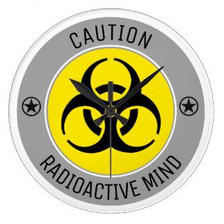CAUTION RADIOACTIVE MIND LARGE CLOCK