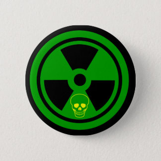 Caution Radioactive Sign With Skull 2 Inch Round Button