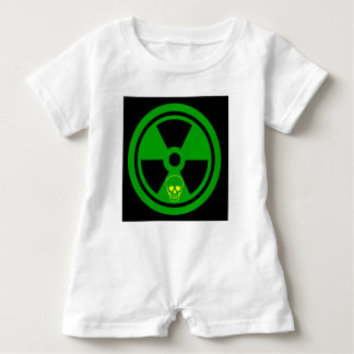 Caution Radioactive Sign With Skull Baby Romper