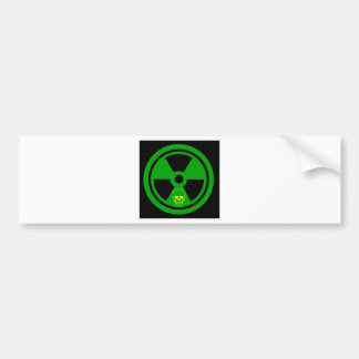 Caution Radioactive Sign With Skull Bumper Sticker