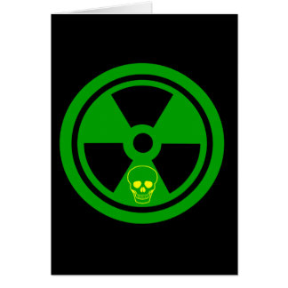 Caution Radioactive Sign With Skull Card