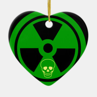 Caution Radioactive Sign With Skull Ceramic Ornament