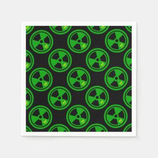 Caution Radioactive Sign With Skull Disposable Napkin