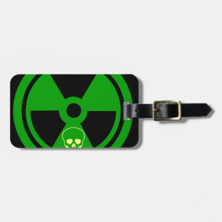 Caution Radioactive Sign With Skull Luggage Tag