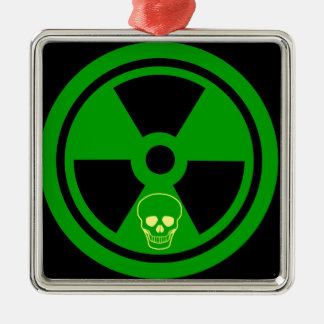 Caution Radioactive Sign With Skull Metal Ornament