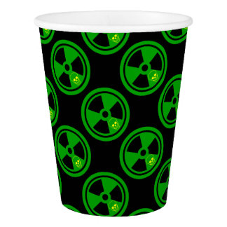 Caution Radioactive Sign With Skull Paper Cup