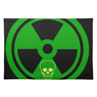 Caution Radioactive Sign With Skull Placemat