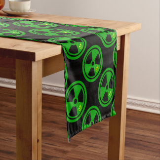 Caution Radioactive Sign With Skull Short Table Runner