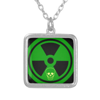 Caution Radioactive Sign With Skull Silver Plated Necklace