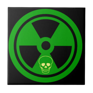 Caution Radioactive Sign With Skull Tile