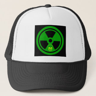 Caution Radioactive Sign With Skull Trucker Hat