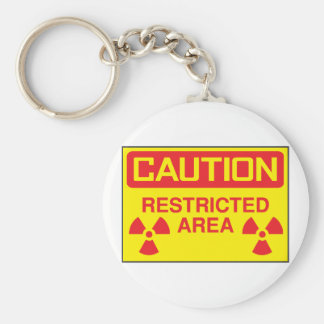 Caution Restricted Area Keychain