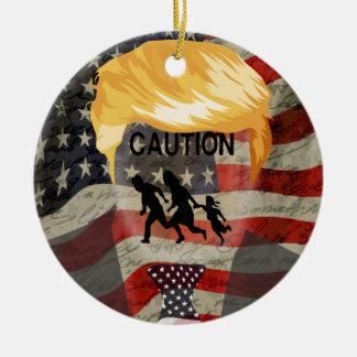 Caution Round Ceramic Ornament
