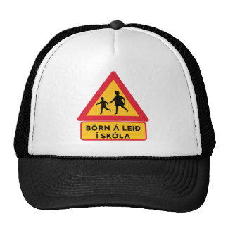 Caution School, Traffic Sign, Iceland Trucker Hat