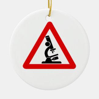 Caution:  SCIENCE! Round Ceramic Ornament