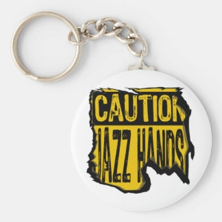 Caution Sign- Ripped Jazz Hands Yellow/Black Key Chain
