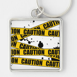 Caution! Silver-Colored Square Keychain