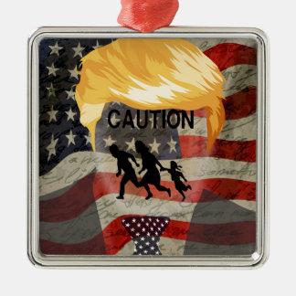 Caution Silver-Colored Square Ornament