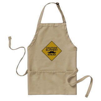 Caution Slippery Mustache Aprons