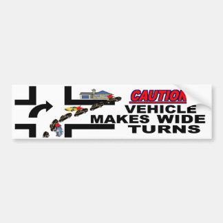 Caution Vehicle Makes Wide Turns Bumper Sticker