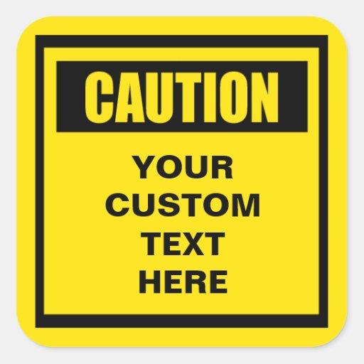 Caution warning large custom sticker zazzle for Zazzle custom t shirts