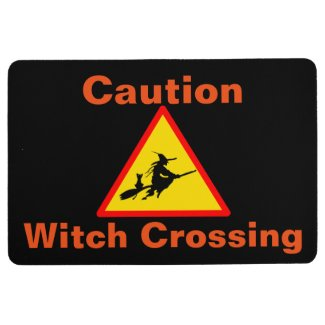 Caution Witch Crossing Halloween floor mat
