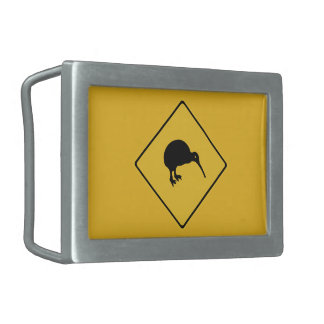 Caution With Kiwis, Traffic Sign, New Zealand Rectangular Belt Buckle