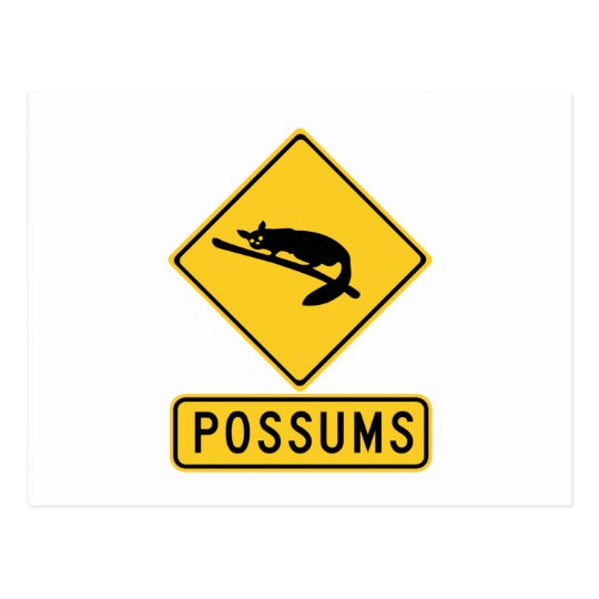 Caution With Possums 2, Traffic Warning Sign, AU Postcard