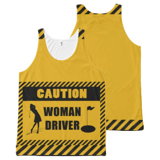 Caution Woman Driver Golf Humour All-Over-Print Tank Top