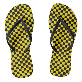 caution yellow checkered sandals