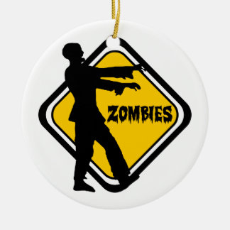 Caution Zombies Round Ceramic Ornament