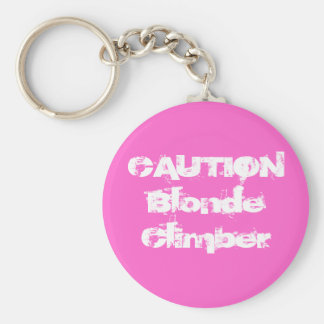 CAUTIONBlonde Climber Keychain