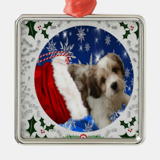 Cavachon Ornament, Christmas Metal Ornament