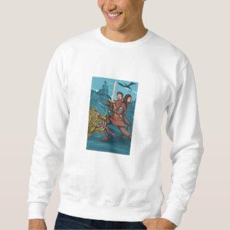 Cavalier and Princess Fighting Dragon Watercolor Sweatshirt