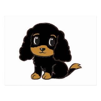 cavalier kcs black and tan cartoon postcard