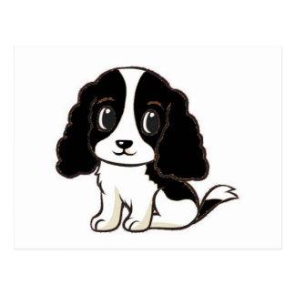 cavalier kcs black and white cartoon postcard