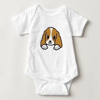 cavalier kcs peeking blenheim baby bodysuit