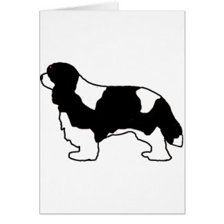 Cavalier King Charles black and white silo Card