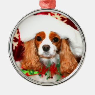 Cavalier King Charles Christmas Santa Magnet Silver-Colored Round Ornament