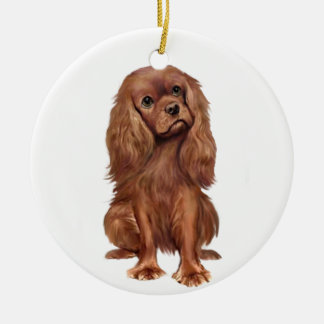 Cavalier King Charles - Ruby Round Ceramic Ornament