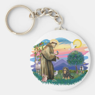 Cavalier King Charles Spaniel  (black and tan) Basic Round Button Keychain