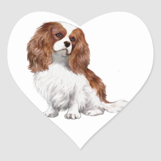 Cavalier King Charles Spaniel (Blenheim A) Heart Sticker