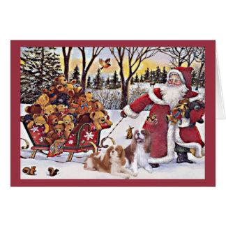 Cavalier King Charles Spaniel Christmas Card Bears
