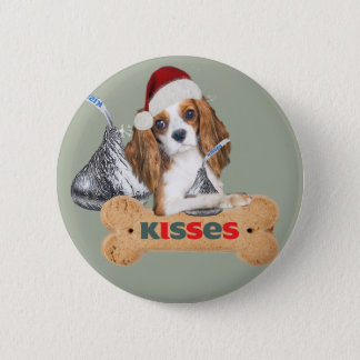 Cavalier King Charles Spaniel Christmas Kisses 2 Inch Round Button