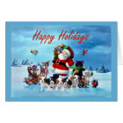 Cavalier King Charles Spaniel Christmas Santa Anim Card