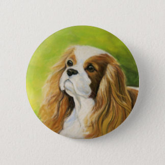 """Cavalier King Charles Spaniel"" Dog Art Button"
