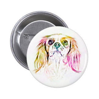 Cavalier King Charles Spaniel Dog Art Painting 2 Inch Round Button