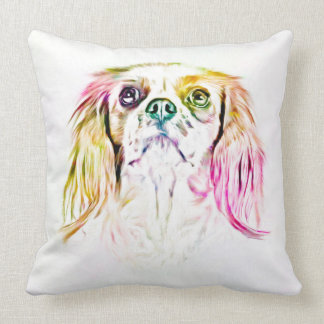 Cavalier King Charles Spaniel Dog Art Painting Throw Pillow